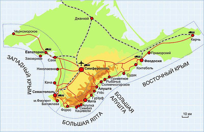 Южный берег Крыма на карте
